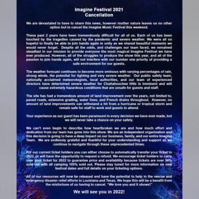 Imagine Music Festival 2021 Cancelled